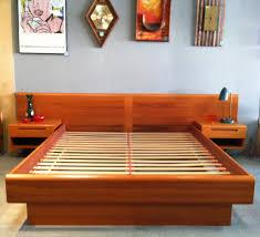 Bed Frame Legs For Hardwood Floors Bedroom Dark Brown Varnished Oak Wood Queen Size Bed Frame With