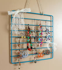 small jewelry holder diy with blue metal frame and sheer white