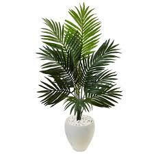 nearly natural indoor kentia palm artificial tree in white oval