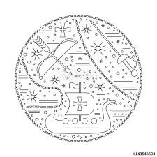 medieval icons symbols in round composition crossbow viking