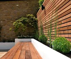 Garden Bench With Planters Cedar Screen Raised Planter Bed Limestone Paving Hardwood Bench