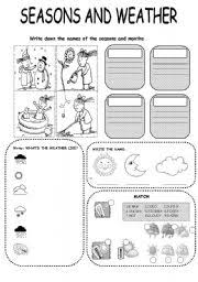 worksheet seasons and weather exercise
