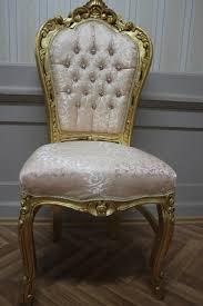 Esszimmerstuhl Auflagen Stuhl Antik Sitzmöbel Rahmen Schlaggold Bezug Gold Beige