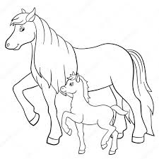 coloring pages farm animals mother horse with foal u2014 stock