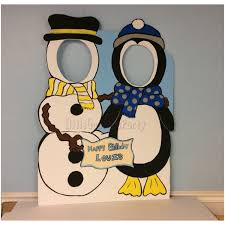 snowman u0026 penguin wooden face in hole photo op stand in