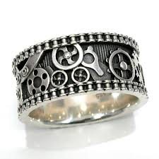 steunk engagement ring mens bike chain gear ring steunk sterling silver