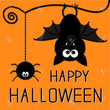 cute bat and hanging spider happy halloween card royalty free