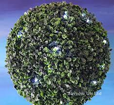Light Up Topiary Balls - 2 x large solar powered led lights artificial green leaf topiary