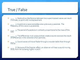 What Travels Faster Light Or Sound Waves Sound Light Chapter 14 15 And 16 True False