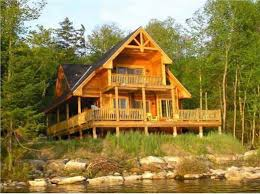 two story log homes get in tune with nature in a mountain style home