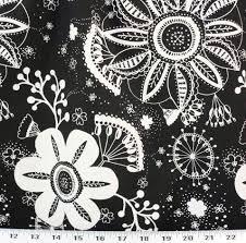 Discount Home Decor Fabric Online Flower Power Black Indoor Outdoor Best Fabric Store Online