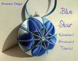 blue no sew fabric ornament tutorial