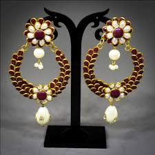 chandbali earrings pachchi chandbali earrings maroon beadsobling