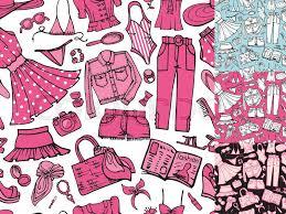 fashion illustration seamless pattern set vector hand drawn