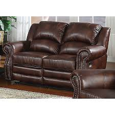 double recliner dual reclining loveseat leather brown nailhead
