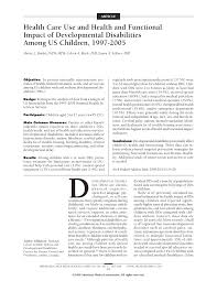 N Home Health Care by Health Care Use And Health And Functional Impact Of Developmental