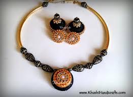 quilling earrings set black statement maker silk necklace set khushi handicrafts
