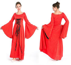 women u0027s red renaissance medieval costume long dress halloween