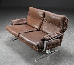 danish mid century vintage arne norell 2 seater sledge foot sofa