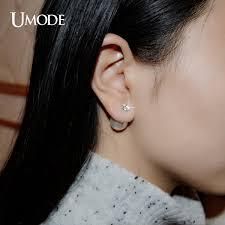 sided stud earrings aliexpress buy umode 3 prongs 0 75 carat cubic zirconia