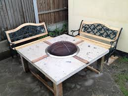 furniture fine diy concrete fire pit dining table with square