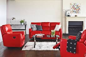 Red Chairs For Living Room by Furniture Comfortable Red Leather Recliner For Elegant Living