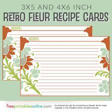 retro fleur recipe card template free printables online