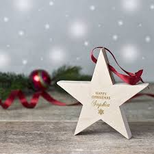 personalised festive wooden ornament by wooden gallery