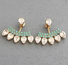 turquoise bridal earrings ear jacket earringswhite turquoiseswarovski ear