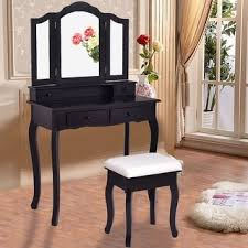 Black Vanity Table With Mirror Black Finish Tri Mirror Vanity Table And Stool Free Shipping