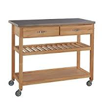 stainless steel top kitchen cart amazon com home styles natural designer utility cart with