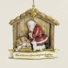 kneeling santa resin ornament philippians 2 10 scrolls