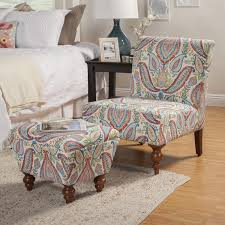 Armchairs And Ottomans Homepop Coral And Turquoise Paisley Accent Chair And Ottoman