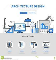 architecture design concept flat line art vector icons stock