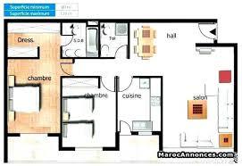 superficie chambre cuisine amacnagace surface plan cuisine amacnagace