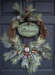 Christmas Decorations Outdoor Wreaths by Rustic Christmas Wreaths Believe Outdoor Holiday Wreath
