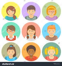 kids round flat vector avatars different stock vector 284880851