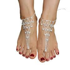 amazon com sweetm 2pc rhinestone barefoot sandals bridemaids