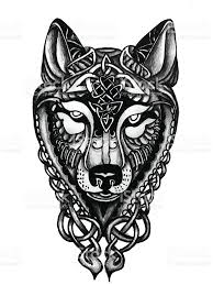 hand drawn celtic wolf head for tattoo stock vector art 544801862