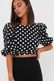 black polka dot blouse black polka dot print neck puff sleeve retro cropped blouse