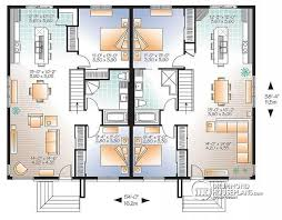 single storey semi detached house floor plan multi family plan w2085 v3 detail from drummondhouseplans com