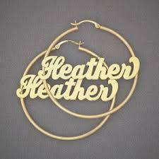 Gold Name Earrings 14k Gold Name Hoop Earrings 2 Inch Gh016n