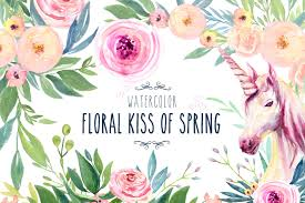 watercolor floral kiss of spring illustrations creative market
