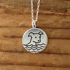 dog necklace silver images Sterling silver swimming dog boating cat necklace jpg