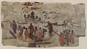 from the harvard art museums collections eight men ferrying a eight men ferrying a statue of the buddha from mogao cave 323 dunhuang