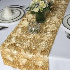gold christmas table runner satin ribbon rosette wedding table runner