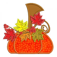 pumpkin with leaves fall thanksgiving applique machine embroidery