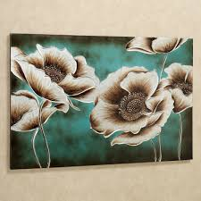 decor faux wall paint and flower canvas wall art for dining room