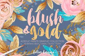 Chic Flower Blush U0026 Gold Clipart Boho Chic Flower Wreath Peach Navy Gold