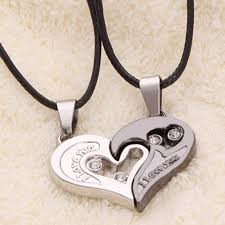 long love heart necklace images Lover couple stainless steel long necklace men women i love you jpg